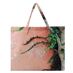 Background Stone Wall Pink Tree Zipper Large Tote Bag