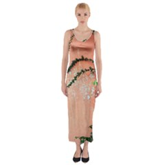 Background Stone Wall Pink Tree Fitted Maxi Dress