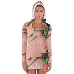 Background Stone Wall Pink Tree Women s Long Sleeve Hooded T-shirt