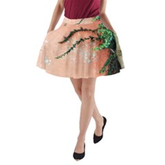 Background Stone Wall Pink Tree A-Line Pocket Skirt