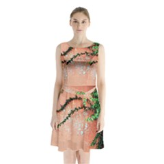 Background Stone Wall Pink Tree Sleeveless Chiffon Waist Tie Dress