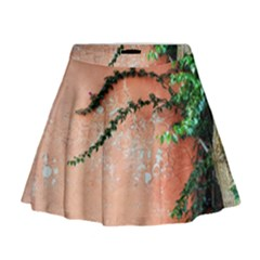 Background Stone Wall Pink Tree Mini Flare Skirt
