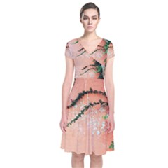 Background Stone Wall Pink Tree Short Sleeve Front Wrap Dress