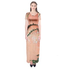Background Stone Wall Pink Tree Short Sleeve Maxi Dress