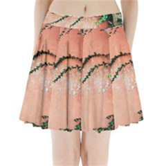 Background Stone Wall Pink Tree Pleated Mini Skirt