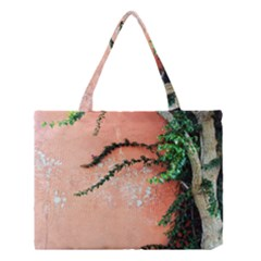 Background Stone Wall Pink Tree Medium Tote Bag