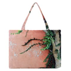Background Stone Wall Pink Tree Medium Zipper Tote Bag