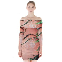 Background Stone Wall Pink Tree Long Sleeve Off Shoulder Dress