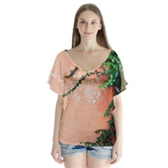 Background Stone Wall Pink Tree Flutter Sleeve Top