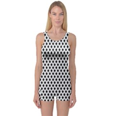 Diamond Black White Shape Abstract One Piece Boyleg Swimsuit