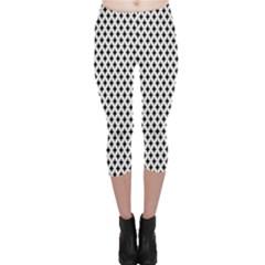 Diamond Black White Shape Abstract Capri Leggings