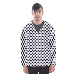 Diamond Black White Shape Abstract Hooded Wind Breaker (Men)