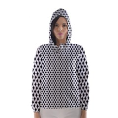 Diamond Black White Shape Abstract Hooded Wind Breaker (Women)