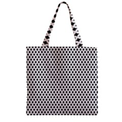 Diamond Black White Shape Abstract Zipper Grocery Tote Bag