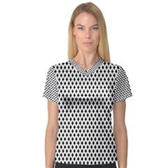 Diamond Black White Shape Abstract Women s V-Neck Sport Mesh Tee