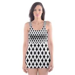 Diamond Black White Shape Abstract Skater Dress Swimsuit