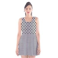 Diamond Black White Shape Abstract Scoop Neck Skater Dress