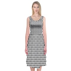 Diamond Black White Shape Abstract Midi Sleeveless Dress