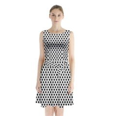 Diamond Black White Shape Abstract Sleeveless Chiffon Waist Tie Dress