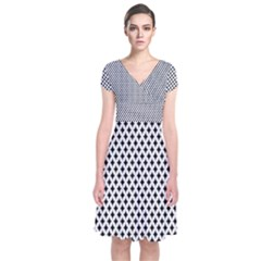 Diamond Black White Shape Abstract Short Sleeve Front Wrap Dress