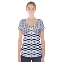 Diamond Black White Shape Abstract Short Sleeve Front Detail Top