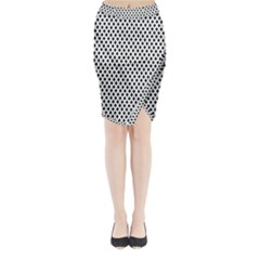 Diamond Black White Shape Abstract Midi Wrap Pencil Skirt