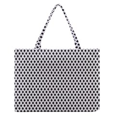 Diamond Black White Shape Abstract Medium Zipper Tote Bag