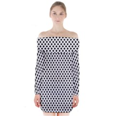 Diamond Black White Shape Abstract Long Sleeve Off Shoulder Dress
