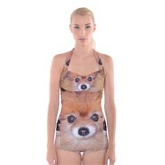 Pomeranian Boyleg Halter Swimsuit