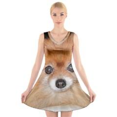 Pomeranian V-Neck Sleeveless Skater Dress
