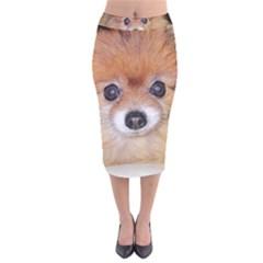 Pomeranian Velvet Midi Pencil Skirt