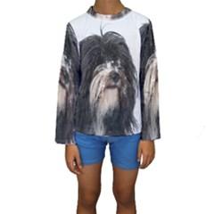 Tibet Terrier  Kids  Long Sleeve Swimwear