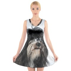 Tibet Terrier  V-Neck Sleeveless Skater Dress