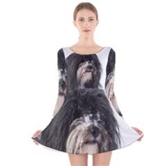 Tibet Terrier  Long Sleeve Velvet Skater Dress