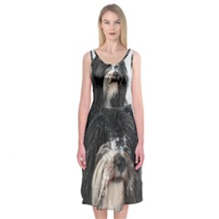 Tibet Terrier  Midi Sleeveless Dress