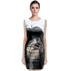 Tibet Terrier  Sleeveless Velvet Midi Dress