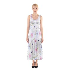 Floral Pattern Background Sleeveless Maxi Dress