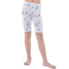 Floral Pattern Background Kids  Mid Length Swim Shorts
