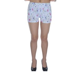 Floral Pattern Background Skinny Shorts