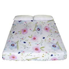 Floral Pattern Background Fitted Sheet (Queen Size)