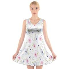 Floral Pattern Background V-Neck Sleeveless Skater Dress