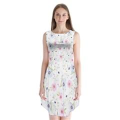 Floral Pattern Background Sleeveless Chiffon Dress
