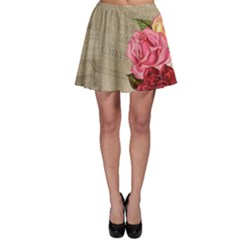 Flower Floral Bouquet Background Skater Skirt