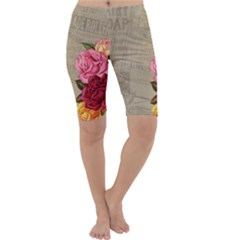 Flower Floral Bouquet Background Cropped Leggings