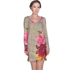 Flower Floral Bouquet Background Long Sleeve Nightdress
