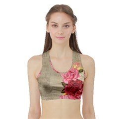 Flower Floral Bouquet Background Sports Bra with Border