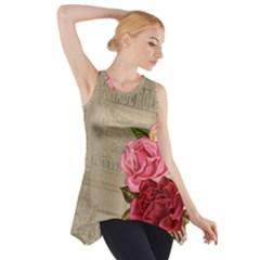 Flower Floral Bouquet Background Side Drop Tank Tunic