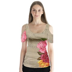 Flower Floral Bouquet Background Butterfly Sleeve Cutout Tee