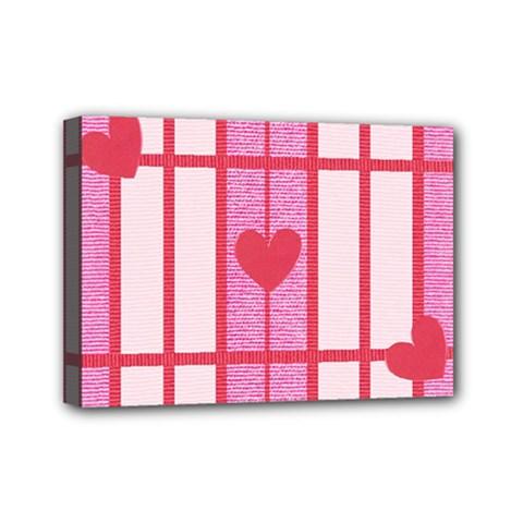 Fabric Magenta Texture Textile Love Hearth Mini Canvas 7  x 5
