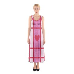 Fabric Magenta Texture Textile Love Hearth Sleeveless Maxi Dress